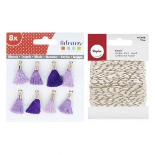 8 blue-purple tassels + golden &...