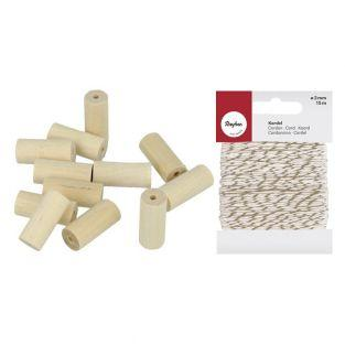 40 wood beads cylinders 25 x 8 mm +...