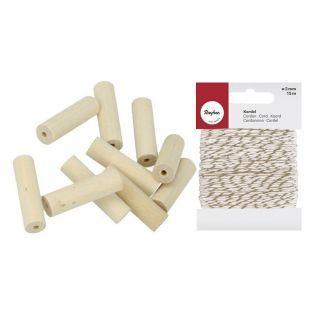 15 Holzperlen Zylinder 30 x 8,6 mm +...