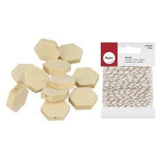 15 cuentas de madera hexagonales 20 x...