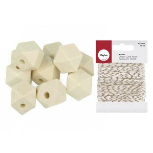 10 perles bois polygonales 15 mm +...