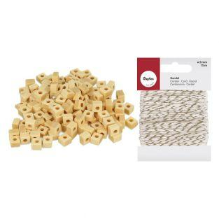 150 Holzperlen Quadrat 5 x 3 mm +...