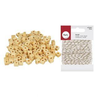 200 perles bois carrées 5 x 3 mm +...