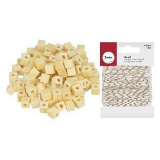 190 perles bois carrées 5 x 5 mm +...