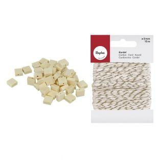 50 flat squared wood beads 10 x 3 mm...