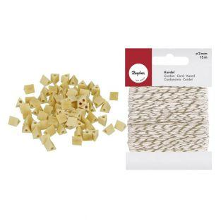 80 wood beads triangles 5 mm + golden...
