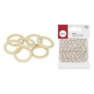 7 anneaux en bois Ø 3 cm + Ficelle...