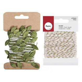 Paper cord with leaves tendril 2 m +...
