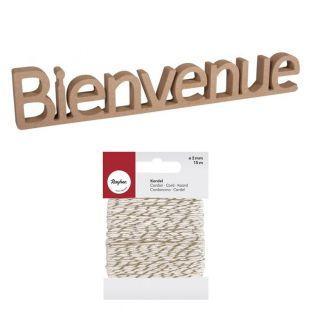 MDF wood word 27 x 5.5 cm Bienvenue +...