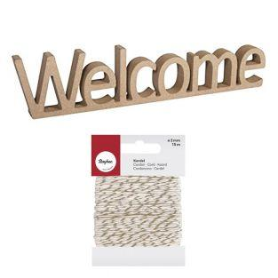 MDF wood word 25 x 5.5 cm Welcome +...