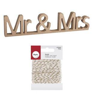 MDF wood word 24 x 5.5 cm Mr & Mrs +...