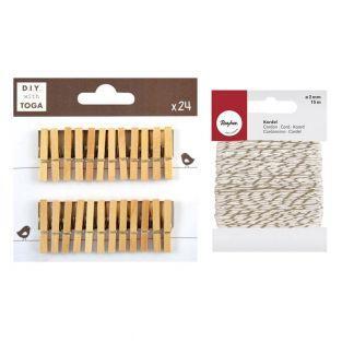 24 Mini mollette di legno + spago...