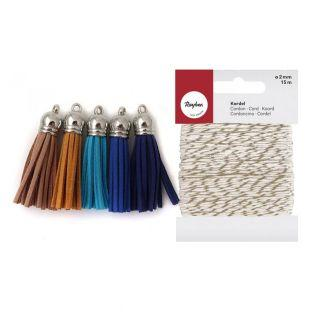 5 suede Tassels 3.6 cm shades of blue...