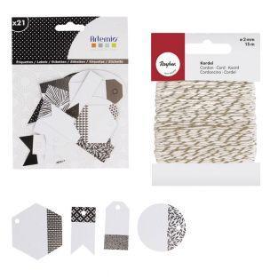 21 étiquettes perforées noir & blanc...