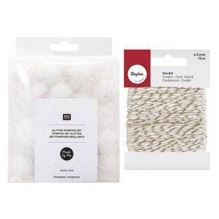 60 Glitzerpompons aus Wolle Weiß +...