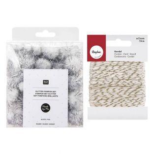 60 Glitzerpompons aus Wolle Silber +...