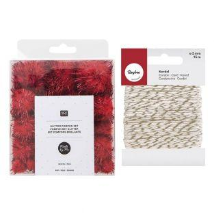 60 Glitzerpompons aus Wolle Rot +...