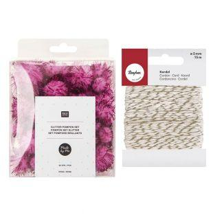 60 pompons brillants roses + Ficelle...