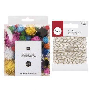 Pompones brillantes x 60 Multicolor +...