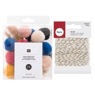 24 Pompons aus Wolle Natur +...