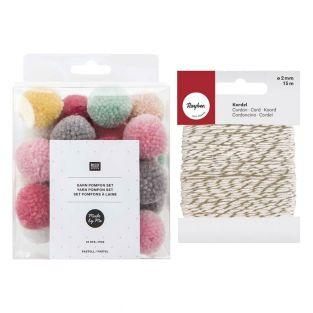 Wool pompoms x 24 Pastel + golden &...