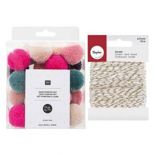 Wool pompoms x 24 Christmas pastel +...