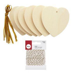 Corazones de madera para colgar 6 cm...