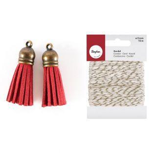 2 mini pompons en suédine rouges 4 cm...
