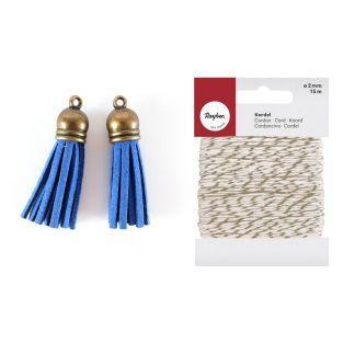 2 Borlas de gamuza 4 m Azul + cordel...
