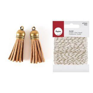 2 suede Tassels 4 m Golden + golden &...