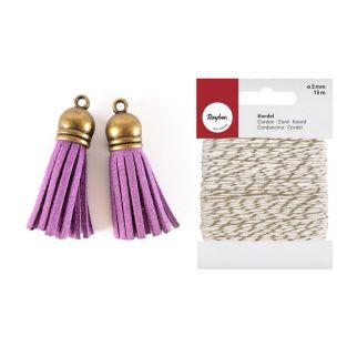 2 suede Tassels 4 m Purple + golden &...