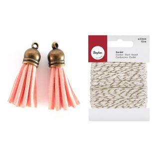 2 suede Tassels 4 m Orange + golden &...