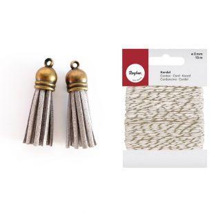 2 suede Tassels 4 m Silver + golden &...