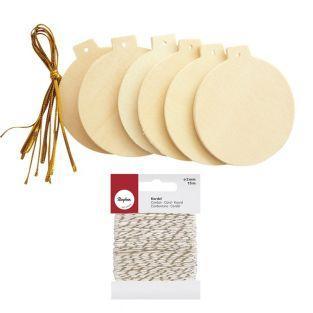 Boules de Noël en bois plates Ø 6 cm...