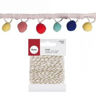 Pastel pompons ribbon 2 m + golden &...