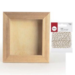 Cadre en bois vitrine 17 x 20 cm +...