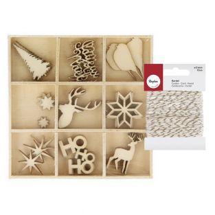 27 mini décorations de Noël en bois +...