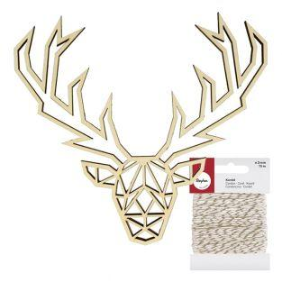 Origami wooden silhouette Deer head +...