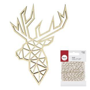 Origami wooden silhouette Deer head...