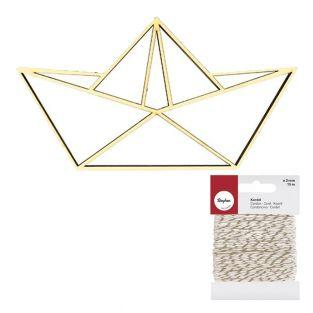 Sagoma in legno MDF Barca origami +...
