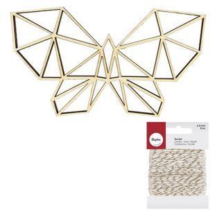 Silhouette bois Papillon origami +...
