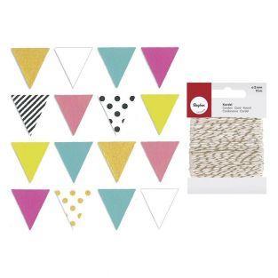 16 stickers fanions multicolores 2,3...