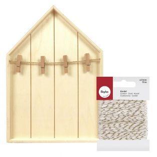 Etagère maison bois 19 x 28 cm +...