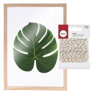 Holzrahmen Herbarium A4 + Weiß-Golden...