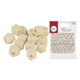 14 polygonal wood beads 14 x 12 mm +...