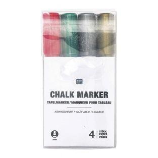 4 marcadores de tiza en colores...