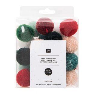 24 grüne und rote Wollpompons