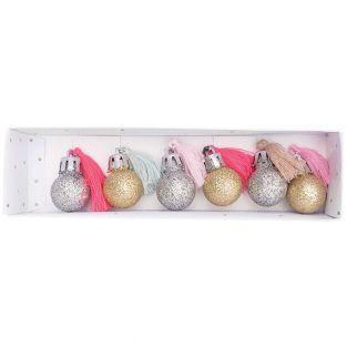6 mini bolas navideñas con purpurina...
