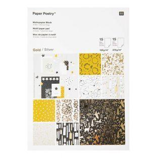 30 hojas de papel dorado y plateado -...