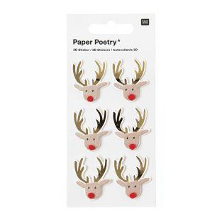 6 3D Stickers - Christmas reindeer
